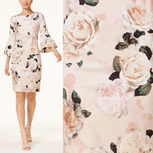 d068ee0444126 Calvin Klein Floral Bell Sleeve Sheath Pink Dress